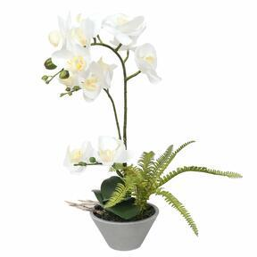 Artificial Orchid white with fern 43 cm