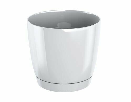 Flowerpot COUBI ROUND P with a bowl white 21cm